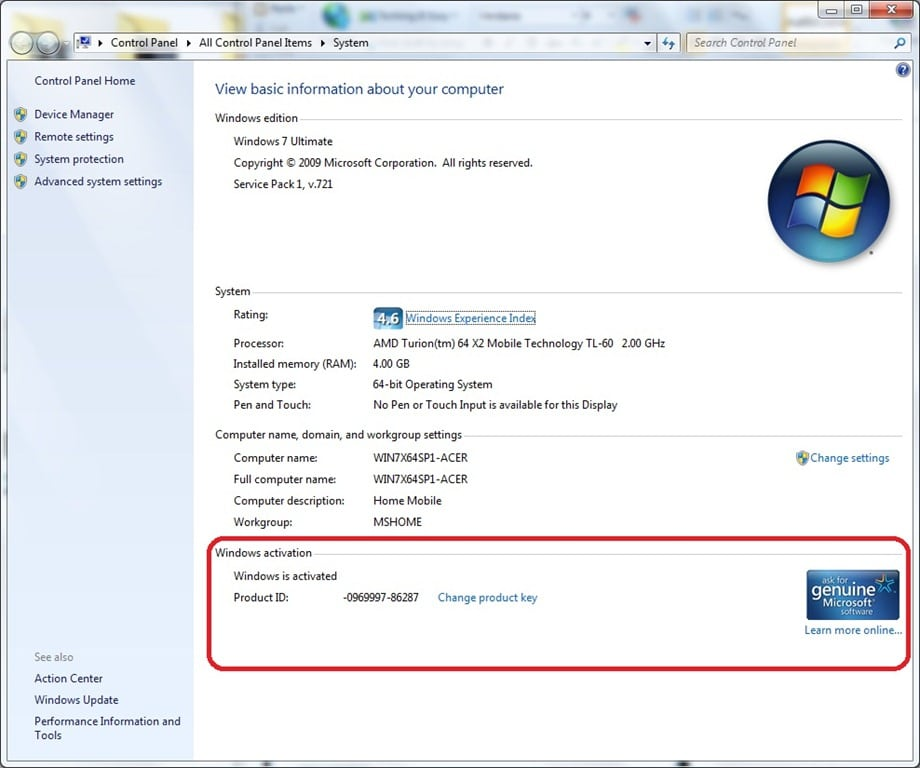 activated windows 7 license