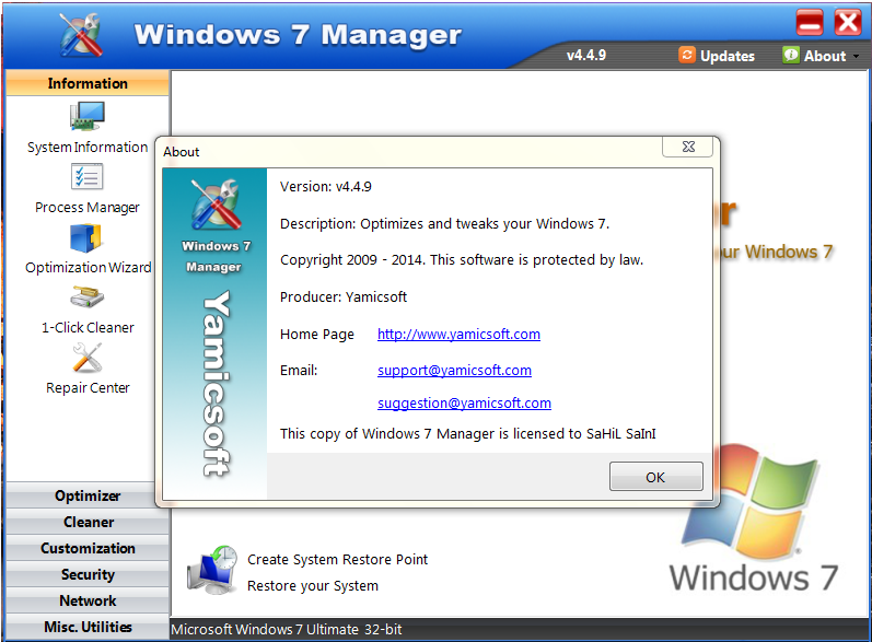 Yamicsoft Window 7 Manager serial for license activation