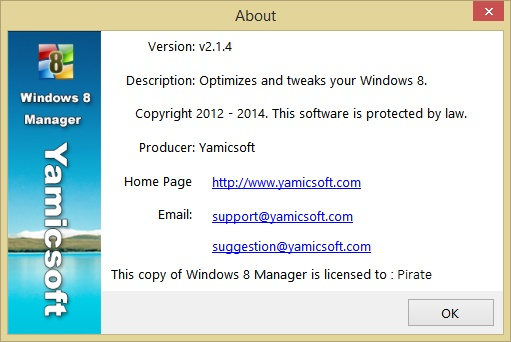 Yamicsoft Windows 8 Manager license key for registration