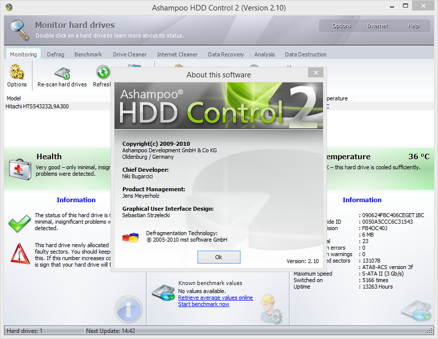 Ashampoo HDD Control serial for license activation