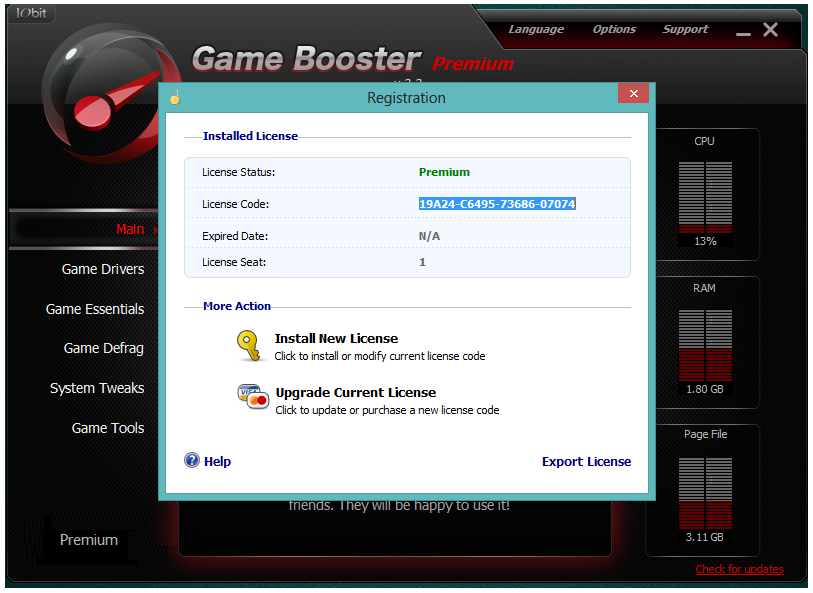 IObit Game Booster Premium licence codes for activation
