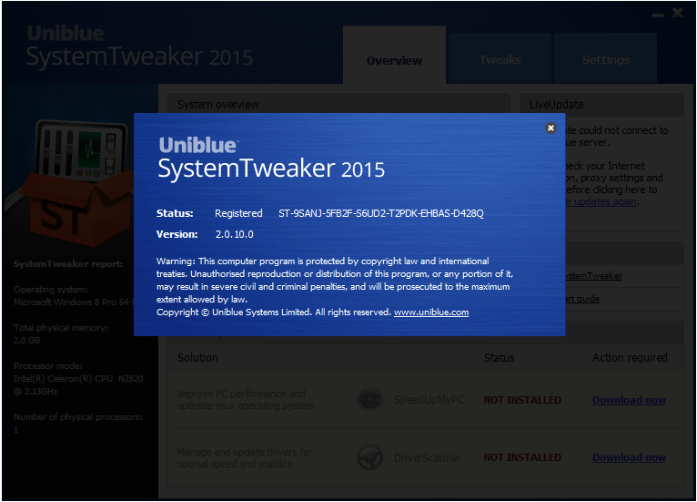 Uniblue System Tweaker patch download
