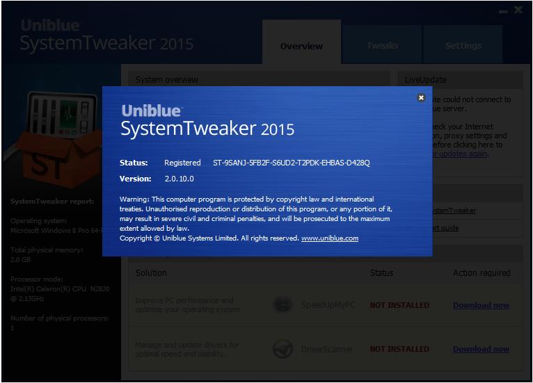 Uniblue System Tweaker patch download