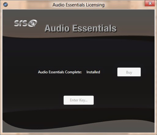 SRS Audio Essentials license activation