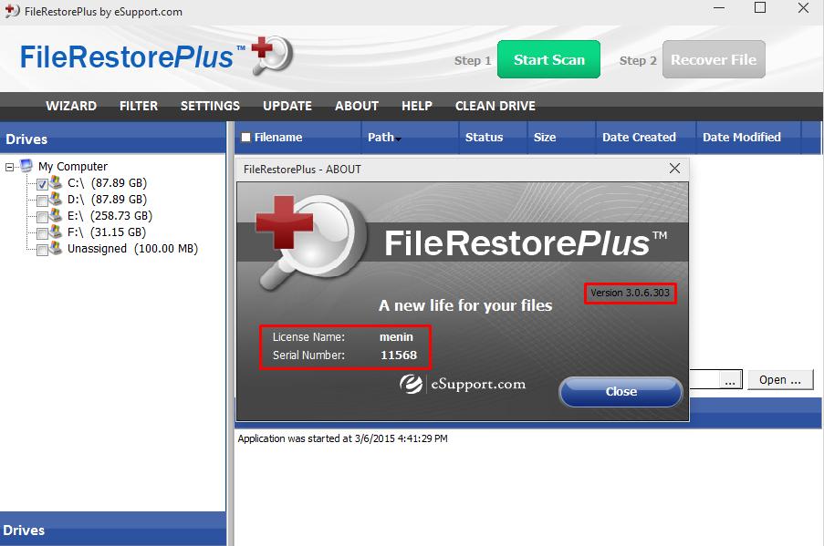 FileRestorePlus serial number