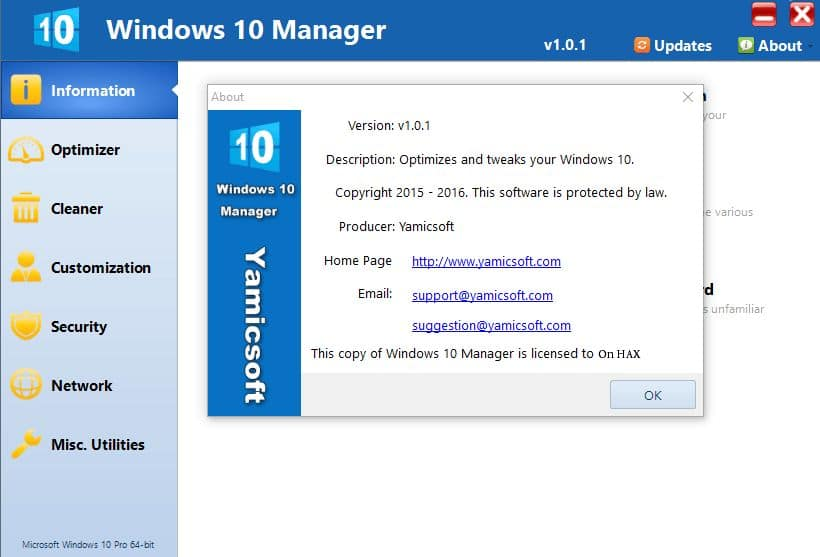 Yamicsoft Windows 10 Manager crack download torrent