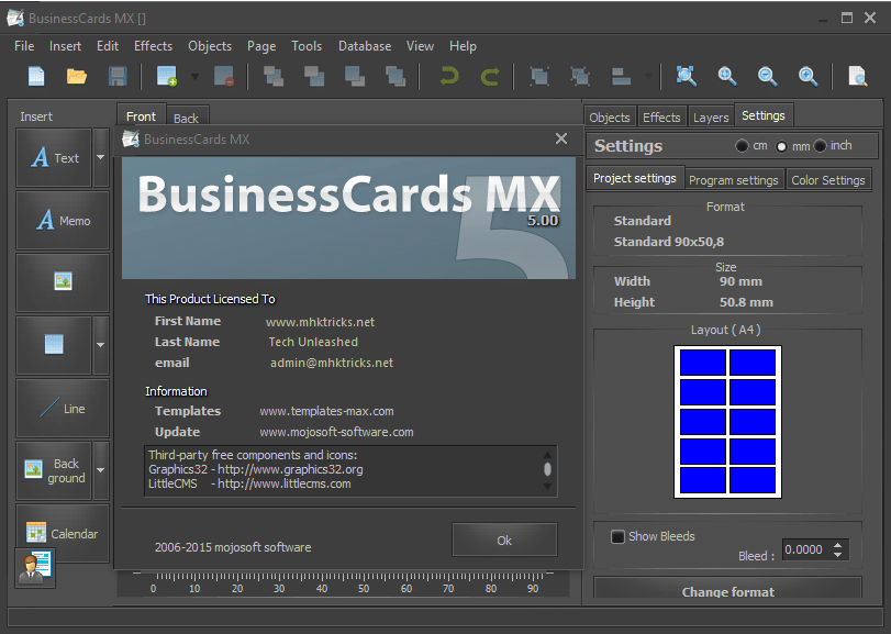 Mojosoft BusinessCards Serial number for license activation