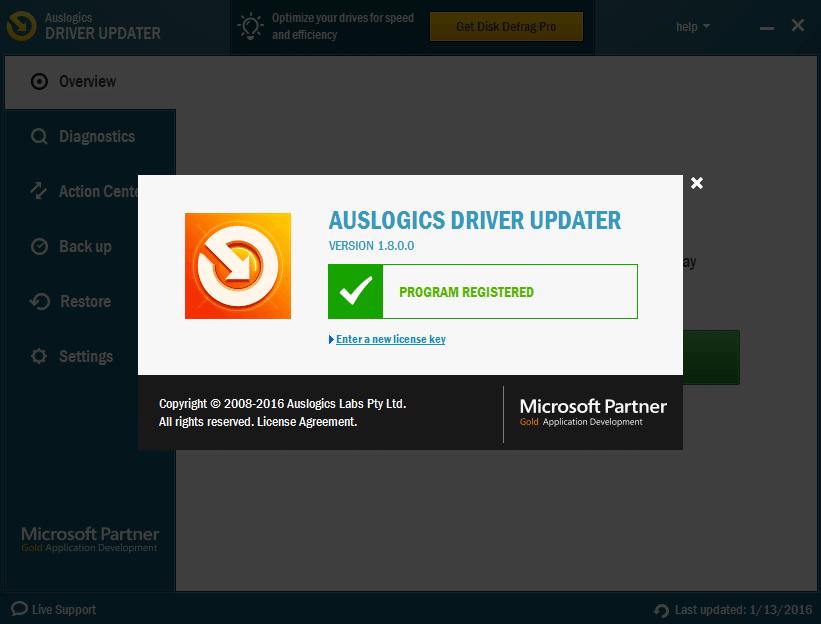 Auslogics Driver Updater license key